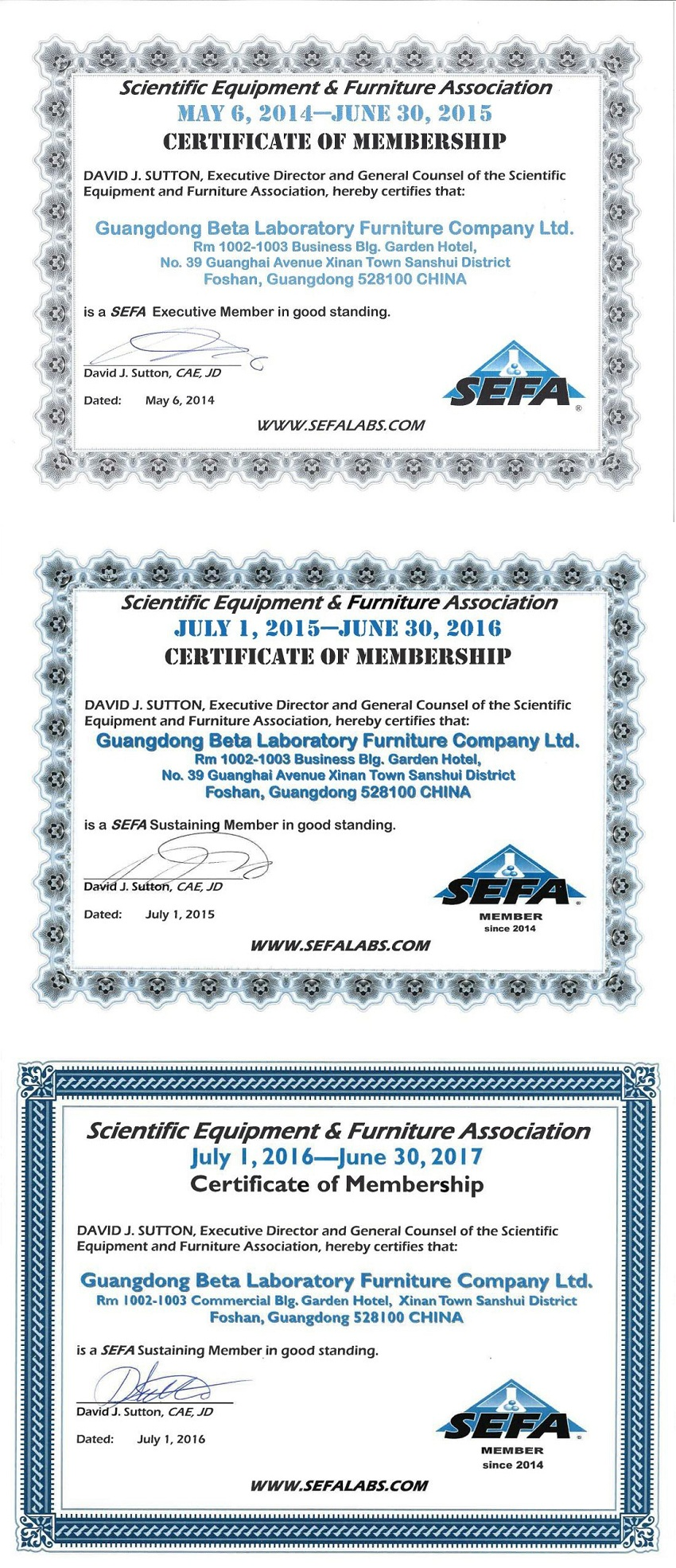 Laboratory Furniture SEFA Certificate - 3