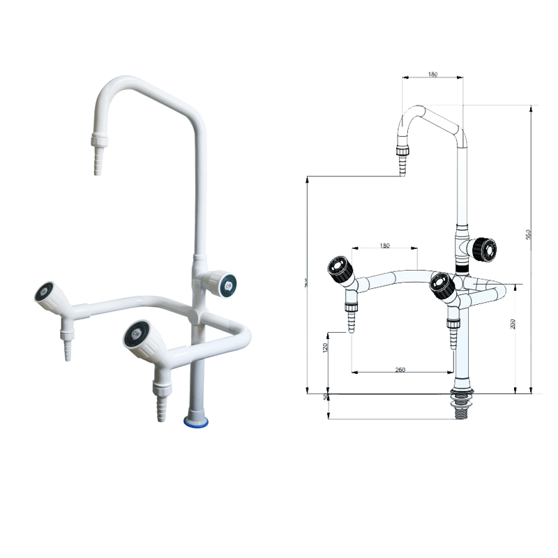 Chemical Laboratory  Bench With  Faucet Water Outlet Lab Fittings