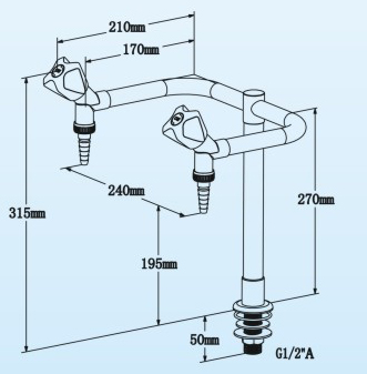 Laboratory Fittings Double Way Bench-top Faucet